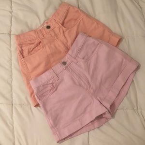 American Apparel High Waist Shorts Pink Salmon